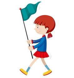 Little girl holding blue flag vector
