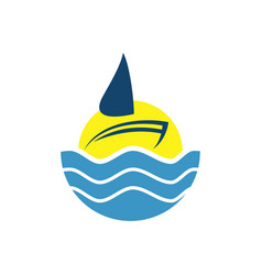 logo design of ocean sea water beach summer vector image