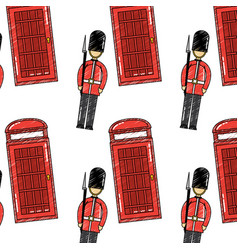 London soldier royal and cabin telephone vector
