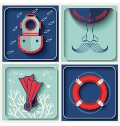marine theme icons vector image
