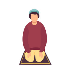 Muslim man praying on his knees eid al adha vector