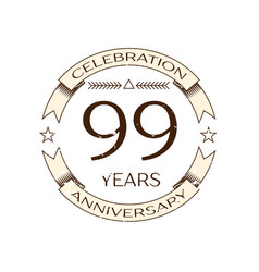 ninety nine years anniversary celebration logo vector image