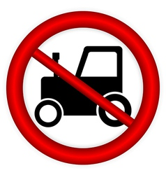 No tractor road sign vector
