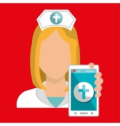 nurse smartphone care health vector image
