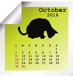 October 2016 Calendar vector