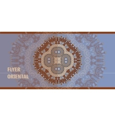 Oriental Flayer template design in blue and brown vector