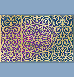 Ornament on the background golden contour vector