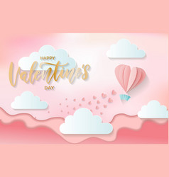 paper cut hot air heart shaped balloon flying on vector image