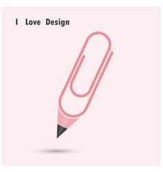 Pencil paper clip shape vector image