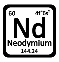 Periodic table element neodymium icon vector image