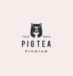 pig tea hipster vintage logo icon vector image
