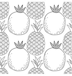 Pineapples and pomegranates black and white vector