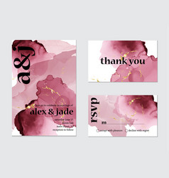 pink watercolor splash wedding card art set of vector image
