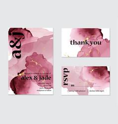 pink watercolor splash wedding card art set vector image