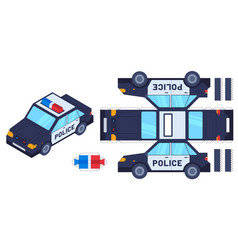 police car paper cut toy kids crafts create toys vector image