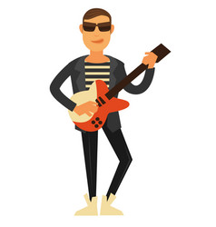 rock singer in sunglasses and leather jacket with vector image