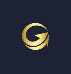 Round arrow up gold logo vector