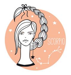 scorpio girl sketch style woman with zodiac sign vector image
