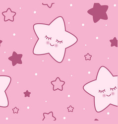 seamless childish pink star background vector image