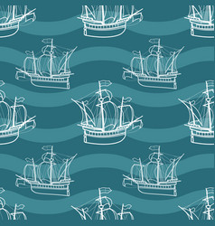 seamless marine pattern with sailing ships vector image