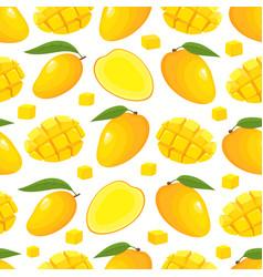 seamless pattern with cartoon mango vector image