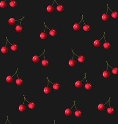 Seamless pattern with cherries on black vector
