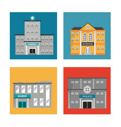 Set building facade different construction vector