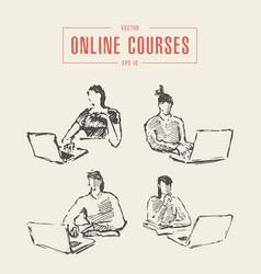 set girl laptop education online courses vector image