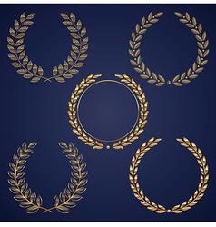 Set golden laurel wreaths vector