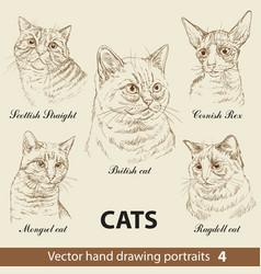 set hand drawing cats 4 vector image