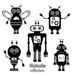 Set of robots in cartoon style vector