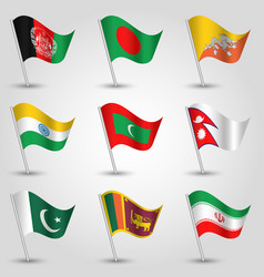 set of waving flags countries of south asia vector image