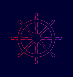 Ship wheel sign line icon with gradient vector