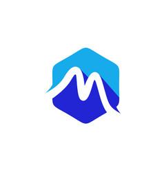 Simple line polygon logo m letter logo m1 vector