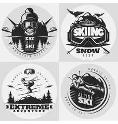 Skiing Emblem Design Composition vector