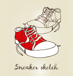 Sneaker color sketch hand drawn active shoe vector