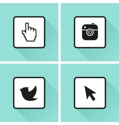 Social media icons Set Photo or camera bird vector image
