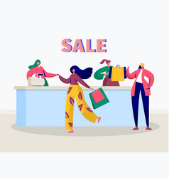 Store sale purchase character banner vector