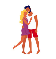 Suntanned couple stands and hugs with closed eyes vector