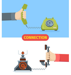 telephone communication old wired vector image