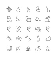 Thin line cosmetic icons vector