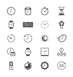 time and clock flat icons vector image