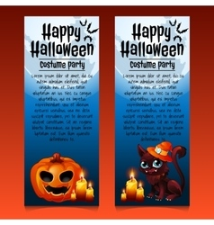 Two happy Halloween cards with cat and pumpkin vector image