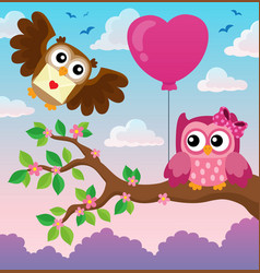 valentine owls theme image 4 vector image
