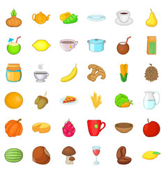 Vegetarian cafe icons set cartoon style vector