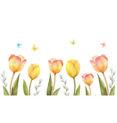 Watercolor banner with tulips and vector