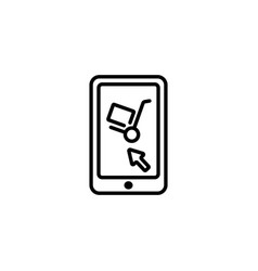 web line icon trolley and smartphone online vector image