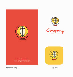 world globe company logo app icon and splash page vector image