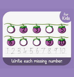 write each missing number worksheet vector image