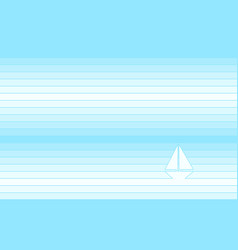 yacht in ocean - light blue striped background vector image